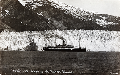 Princess Sophia in Lynn Canal with glacier in the background.